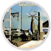 Lucky Fleet Key West  Round Beach Towel by Iconic Images Art Gallery David Pucciarelli