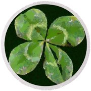 Round Beach Towel featuring the painting Lucky Four Leaf Clover by Dragica  Micki Fortuna