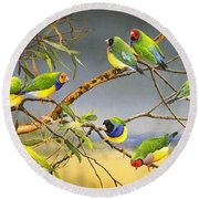 Lucky Seven - Gouldian Finches Round Beach Towel