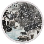 Round Beach Towel featuring the painting Lucky Snow  by Yufeng Wang