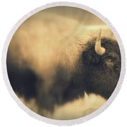 Round Beach Towel featuring the photograph Lucky Yellowstone Buffalo by Lynn Sprowl