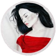Round Beach Towel featuring the mixed media Lucy Liu The Lady In Red by Jim Fitzpatrick