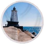 Ludington Lighthouse Round Beach Towel