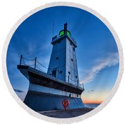 Round Beach Towel featuring the photograph Ludington Lighthouse by Sebastian Musial