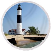 Ludington Michigan's Big Sable Lighthouse Round Beach Towel by Michelle Calkins