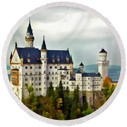 Neuschwanstein Castle In Bavaria Germany Round Beach Towel