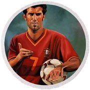 Luis Figo Round Beach Towel by Paul Meijering