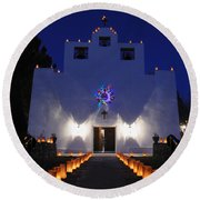 Luminarias At St Francis De Paula Round Beach Towel by Vivian Christopher