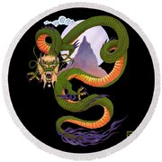 Lunar Chinese Dragon On Black Round Beach Towel