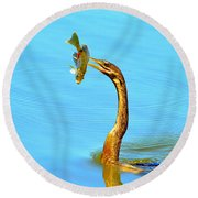 Lunch On The Spear Round Beach Towel