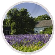 Lupine Flowers Near Round Pond Maine Round Beach Towel by Keith Webber Jr