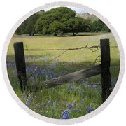 Round Beach Towel featuring the photograph Lupines And Oaks by James B Toy