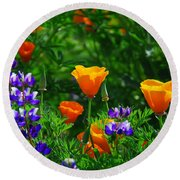 Lupines And Poppies Round Beach Towel