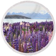 Lupins At Tekapo Round Beach Towel