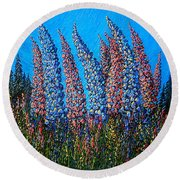 Lupins - Study No. 1 Round Beach Towel