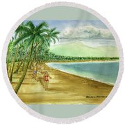 Luquillo Beach And El Yunque Puerto Rico Round Beach Towel by Frank Hunter