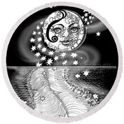 Round Beach Towel featuring the digital art Lure Of Moonlight by Carol Jacobs
