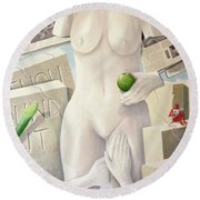 Lust, Legal Consequences Of 11th Commandment Acrylic On Canvas Round Beach Towel