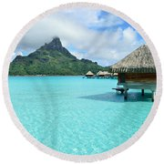 Luxury Overwater Vacation Resort On Bora Bora Island Round Beach Towel