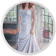 Lydia's Wedding Portrait Round Beach Towel
