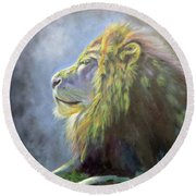 Lying In The Moonlight, Lion Round Beach Towel