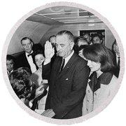 Lyndon Johnson Sworn In Round Beach Towel