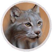Lynx Portrait Round Beach Towel