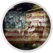 Lynyrd Skynyrd - Simple Man Round Beach Towel by Absinthe Art By Michelle LeAnn Scott