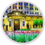 Lyric Opera House Of Chicago Round Beach Towel by Ely Arsha