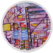 Round Beach Towel featuring the painting Lysergic Descriptions by Jason Williamson