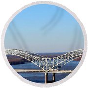 Round Beach Towel featuring the photograph M Bridge Memphis Tennessee by Barbara Chichester