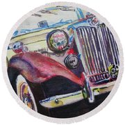 Round Beach Towel featuring the painting M G Car  by Anna Ruzsan