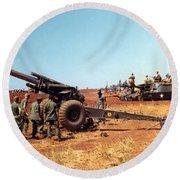 M114 155 Mm Howitzer Was A Towed Howitzer 4th Id Pleiku Vietnam Novembr 1968 Round Beach Towel