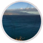 Maalea Bay Overlook   Round Beach Towel