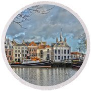 Round Beach Towel featuring the photograph Maassluis Harbour by Frans Blok