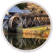 Mabry Grist Mill Fall Panorama Round Beach Towel