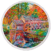 Mabry Mill In Fall Round Beach Towel