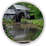 Round Beach Towel featuring the photograph Mabry Mill In May by John Haldane