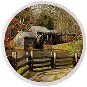 Mabry Mill Round Beach Towel by Suzanne Stout