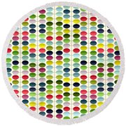 Macaroon Leaves Round Beach Towel