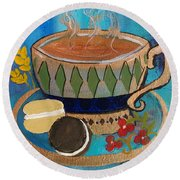 Round Beach Towel featuring the painting Macaroons And Tea by Robin Maria Pedrero