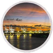 Macarthur Causeway Bridge Round Beach Towel