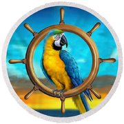 Macaw Pirate Parrot Round Beach Towel