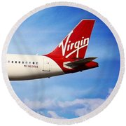Round Beach Towel featuring the photograph Virgin America Mach Daddy - Rare by Aaron Berg