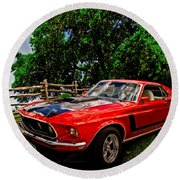 1969 Ford Mach 1 Mustang Round Beach Towel