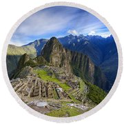 Machu Picchu Round Beach Towel by Alexey Stiop