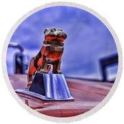 Mack The Bulldog Mascot Round Beach Towel