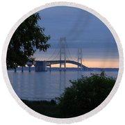 Mackinac Bridge Twilight Round Beach Towel