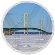 Mackinac In March Round Beach Towel