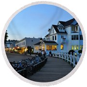 Mackinac Island At Dusk Round Beach Towel